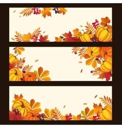 Autumn banners with colorful leaves and pumkins vector