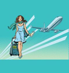 Beautiful young woman with luggage at the airport vector