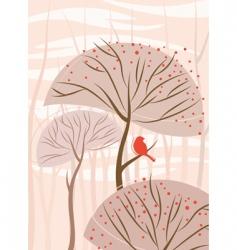 bird with tree vector image