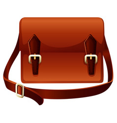 Brown bag made of leather vector
