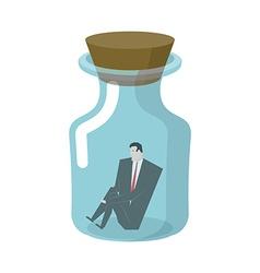 Businessman in glass jar boss in bottle desperate vector