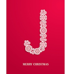 Candy cane made of paper snowflakes vector