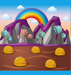 Candy land with chocolate river and lolipop trees vector