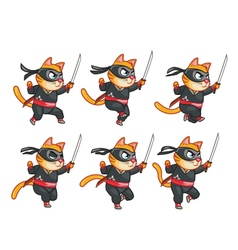 Cat ninja running sprite vector