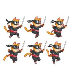 Cat Ninja Running Sprite vector image vector image