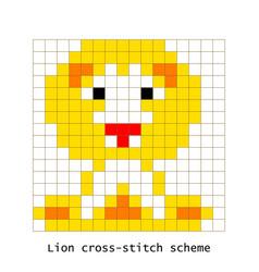 cross-stitch pixel art lion animal set vector image vector image