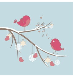 cute birds in love vector image