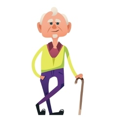 Cute old man with cane vector