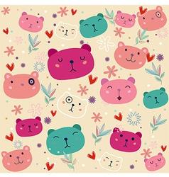 Fancy bear colorful pattern vector