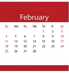 February 2018 calendar popular red premium for vector