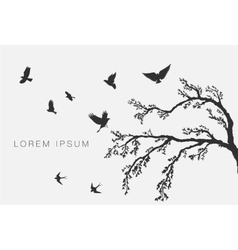 flying birds on tree branch vector image vector image