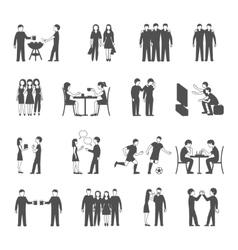 Friends black icons set vector