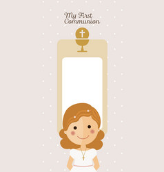 Girl communion with message and dots background vector