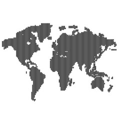 Isolated dark grey color worldmap of lines on vector