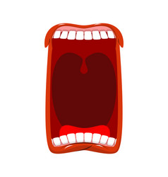 open mouth teeth and tongue hunger yawns on white vector image