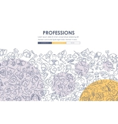 Professions doodle website template design vector