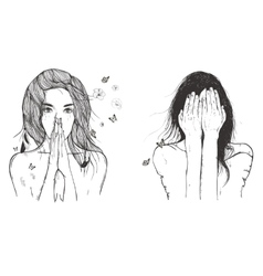 sad woman prays vector image