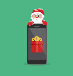 santa claus giving gift on phone vector image