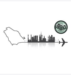 Saudi Arabia Skyline Buildings Silhouette vector image