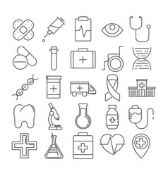 Set of 16 line icons of medical theme vector