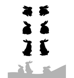 set of silhouette of rabbit vector image