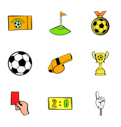 Soccer field icons set cartoon style vector