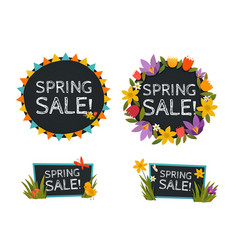 Spring sale chalkboard banners vector