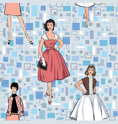 vintage dressed girl 1960s style retro fashion vector image vector image