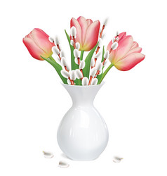 Willow twigs tulips in white vase vector