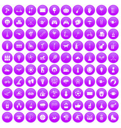 100 kids activity icons set purple vector