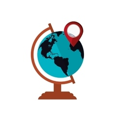 Earth globe and gps pin icon vector
