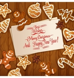 Christmas gingerbread cookie on wooden background vector image