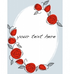 hand drawn frame with roses vector image