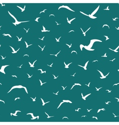White seagulls flying in the sky seamless pattern vector image