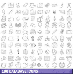 100 database icons set outline style vector image