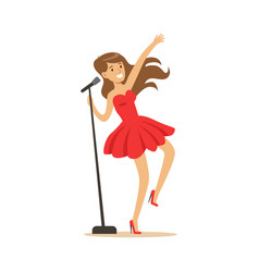 young beautiful girl in red dress with microphone vector image