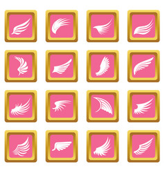 wing icons pink vector image