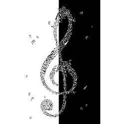 Black and white of treble clef vector