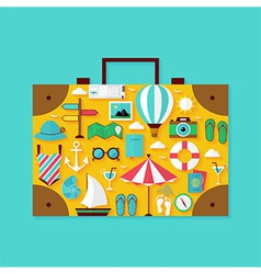 Flat vacation summer holiday objects set vector