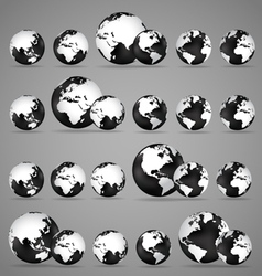 Modern globes and world map vector