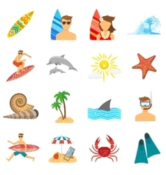 Surfing icons flat set vector