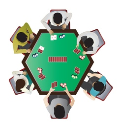 Casino furniture  poker table top view set 10 vector