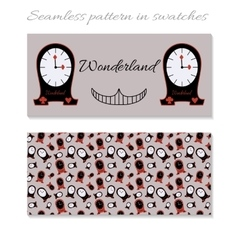 Cards clocks from wonderland vector