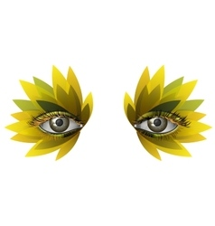 Photorealistic eye artistic feather makeup close vector