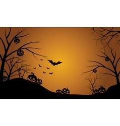 Pumpkins in hills scenery halloween vector