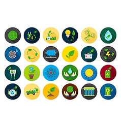 Eco round icons set vector