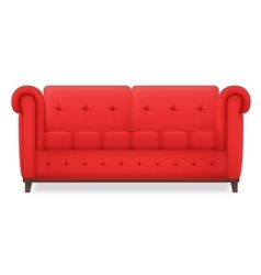 Red leather luxury vintage living room sofa vector