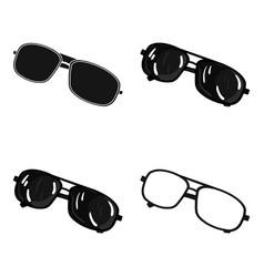 Aviator sunglasses icon in cartoon style isolated vector