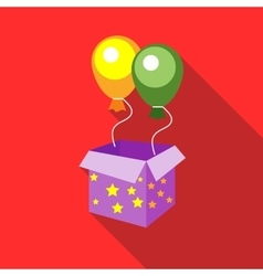 Balloons appearing from magic box icon flat style vector