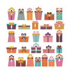 Birthday surprise set of different gift boxes vector